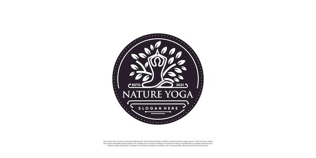 Yoga-logo mit kreativem elementstil premium-vektor teil 6