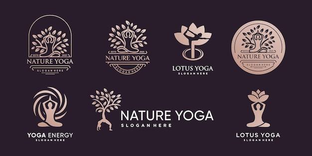 Yoga-logo mit kreativem elementstil premium-vektor