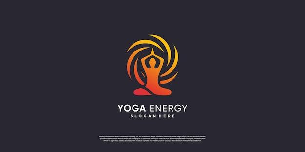 Yoga-logo mit kreativem energiestil premium-vektor