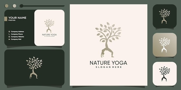 Yoga-logo mit naturbaumkonzept premium-vektor