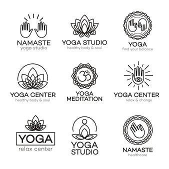 Yoga-logo-schablonenset für ihr yoga-zentrum, yoga-studio, meditationskurs.