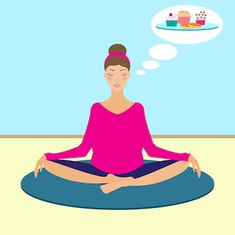 Yoga mädchen träumt von süßen kuchen