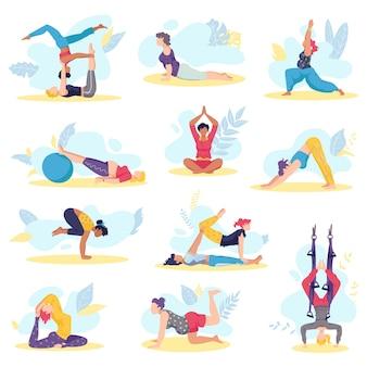 Yoga-mädchenübungen und körpergesundheit werfen fitness- und gesundheitstrainingssatz der illustration auf. schöne junge mädchen, die verschiedene yoga-posen ausüben, meditation dehnen und entspannen.