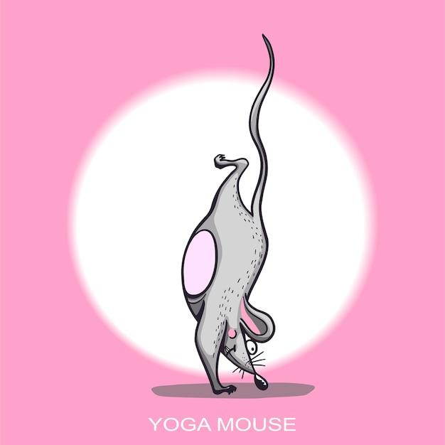 Yoga-maus-cartoon-figur, die yoga-maus-zeichensatz praktiziert, positive rattenillustration für ein auto oder eine kleidungsvektorillustration