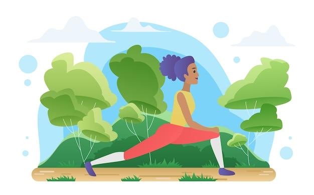 Yoga-meditation in der natur, frau, die sportübungen macht