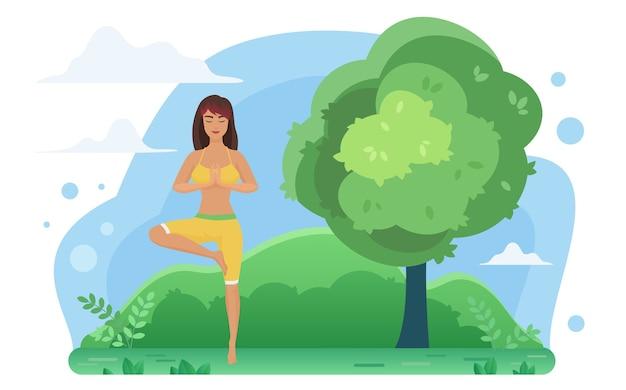 Yoga meditation in der naturillustration.
