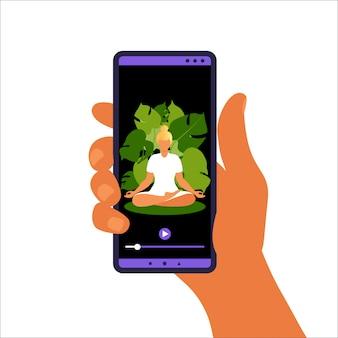 Yoga online-konzept. frau, die yoga-übung zu hause mit online-lehrer auf handy macht. wellness und gesunder lebensstil zu hause. frau, die yogaübungen macht. illustration.