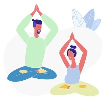 Yoga, pilates für paare flache vektor-illustration