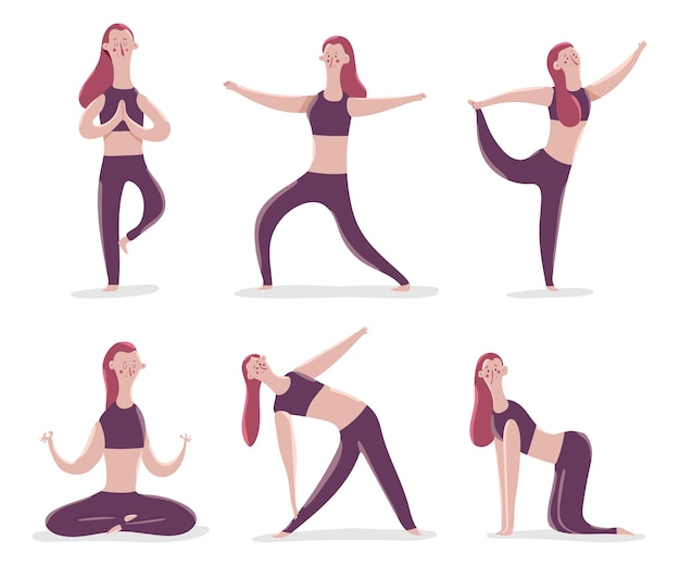 Yoga-posen, die mit niedlichen frauenkarikaturfiguren lokalisiert auf einem weißen hintergrund eingestellt werden.