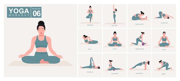 Yoga-posen-set junge frau, die yoga-posen praktiziert