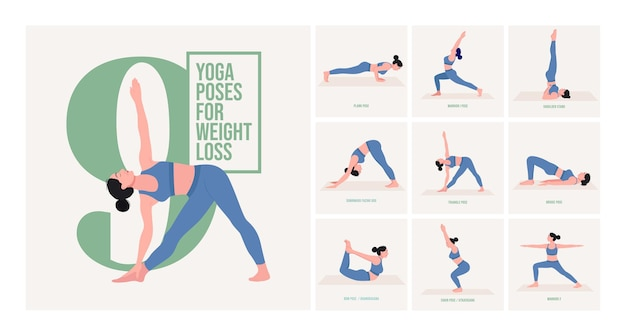 Yoga-posen zur gewichtsreduktion junge frau, die yoga-posen praktiziert