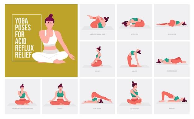 Yoga-posen zur linderung von saurem reflux junge frau, die yoga-pose praktiziert frauentraining fitness