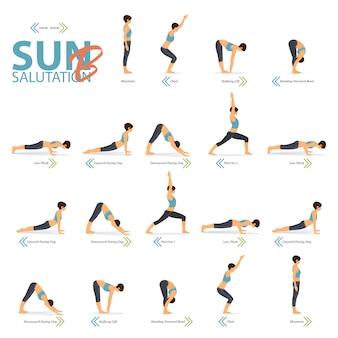 Yoga posiert im konzept des yoga sun salutation b im flachen design für den internationalen yogatag.