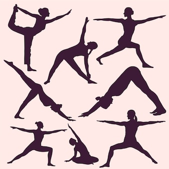 Yoga posiert silhouetten