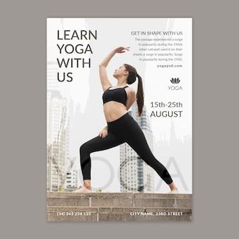 Yoga poster vorlage mit foto