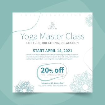 Yoga quadratische flyer vorlage