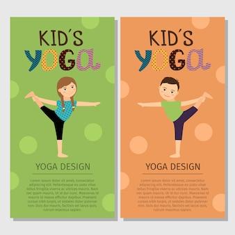 Yoga scherzt vertikales fliegerschablonendesign