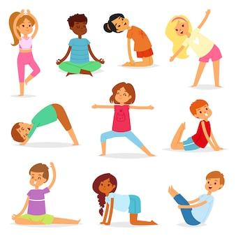 Yoga scherzt yogicharaktertrainingssport-übungsillustrationsgesunden lebensstilsatz des jungen kindes karikaturjungen und mädchen wellnessaktivität des ausdehnens der meditation lokalisiert