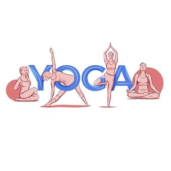 Yoga schriftzug typografie pose asana