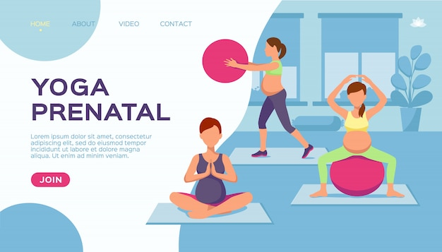 Yoga schwangere frauengruppe, illustration. gesunde übung für fitness-lebensstil, sportkarikatur während der schwangerschaft. mutterschaft