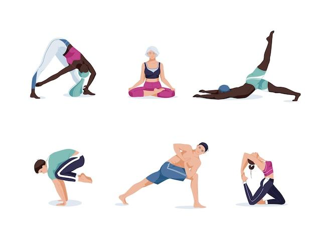 Yoga-set mit menschen charaktere in verschiedenen szenen creator kit und situation. glückliche menschen, die yogaübungen machen und in lotushaltung meditieren.