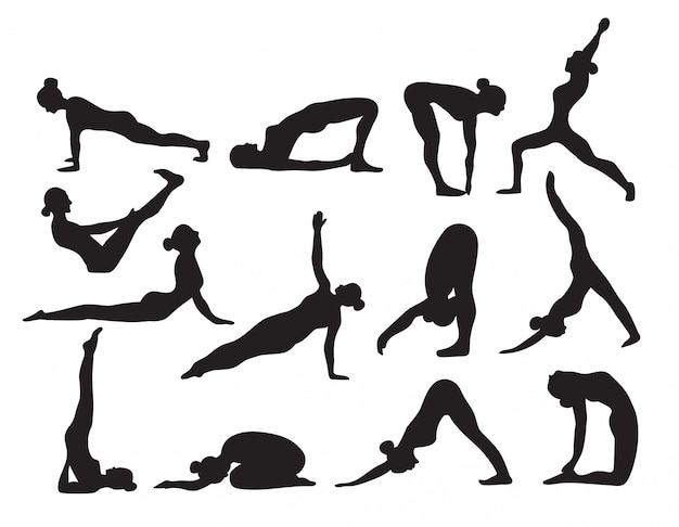 Yoga-silhouetten skizzieren schwarzweiss-satz