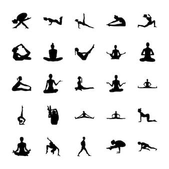 Yoga stellt piktogramme auf