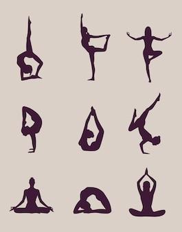 Yoga stellt silhouetten auf hellem hintergrund dar