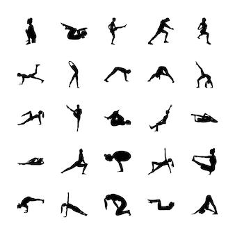 Yoga stellt solide piktogramme auf