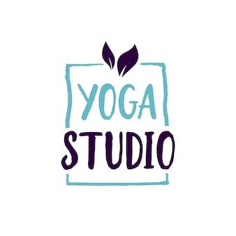 Yoga studio schriftzug im rahmen