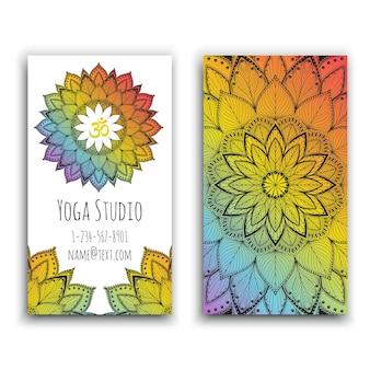 Yoga studio visitenkarte mit mandala design