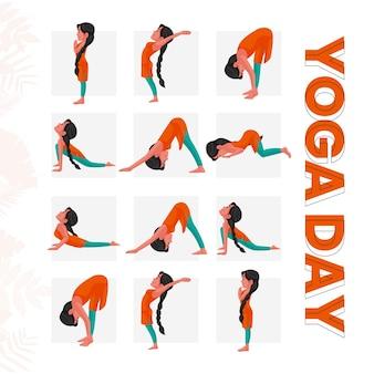 Yoga-tagesfahnenentwurf mit verschiedenen yoga-posen