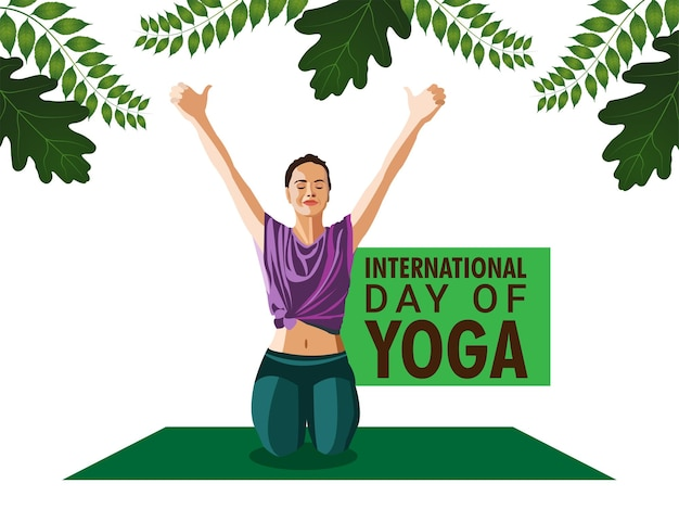 Yoga-tagesillustrationshintergrund