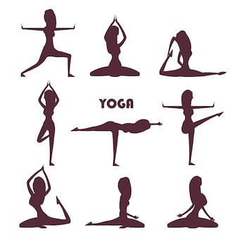 Yoga-übungen und meditation weiblichen silhouetten