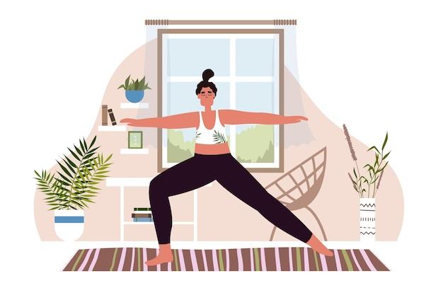 Yoga und illustration des gesunden lebensstils, frau, die zu hause meditiert. illustration