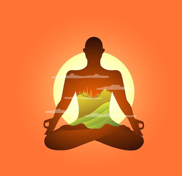 Yoga und meditationspraxis in bergen am morgen abstrakte gestaltung