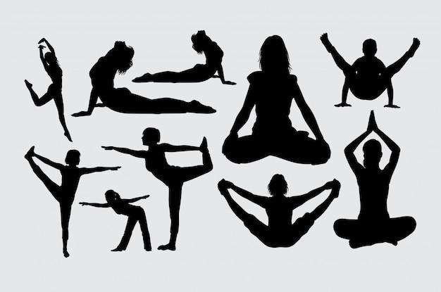 Yoga und meditationssportschattenbild