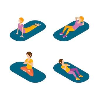 Yoga und stretching für frauen set