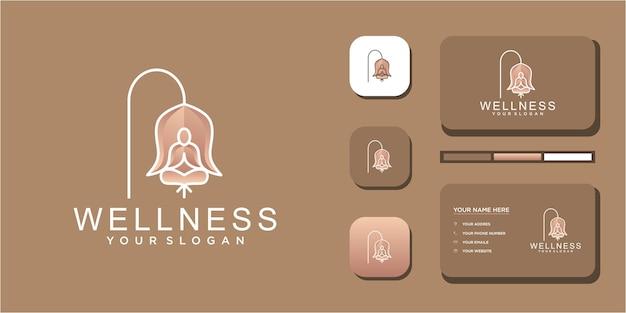 Yoga- und wellness-logo mit kreativer strichzeichnung.