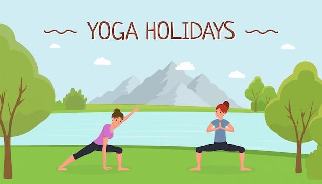 Yoga urlaub flache banner vorlage
