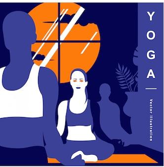 Yoga-vektor-illustration hintergrund