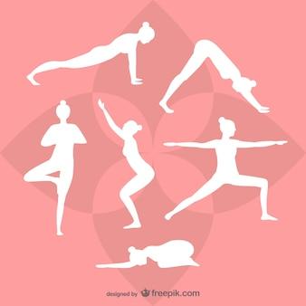 Yoga-weiß-silhouetten