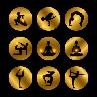 Yoga wirft die ikonen auf, die mit weiblichem schattenbild eingestellt werden