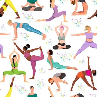 Yoga wirft nahtloses muster frauen flache illustrationen