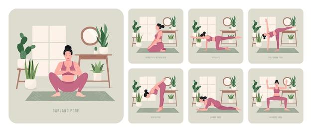 Yoga-workout-set junge frau, die yoga-posen praktiziert