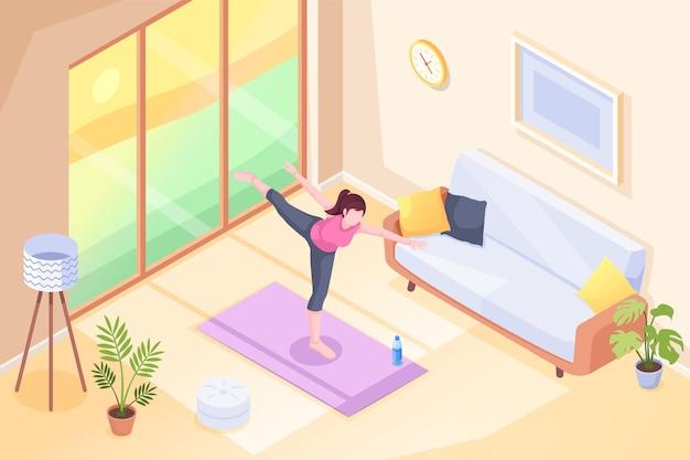 Yoga zu hause, frau, die übungshaltung im raum auf yogamatte tut