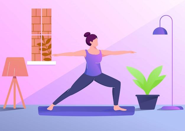 Yogafrauen-illustrationssport im raum