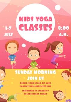 Yogaklassen für kinder, die plakat annoncieren