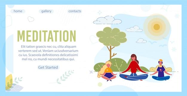Yogalehrer und kinder meditieren im park.