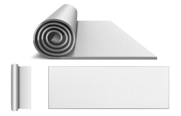 Yogamatte, teppich aus gummischaum für pilates, sporttraining und meditation. vektor realistische fitnessgeräte, aufgerollt und ausgebreitet leere matratze für yoga, fitness und übung draufsicht